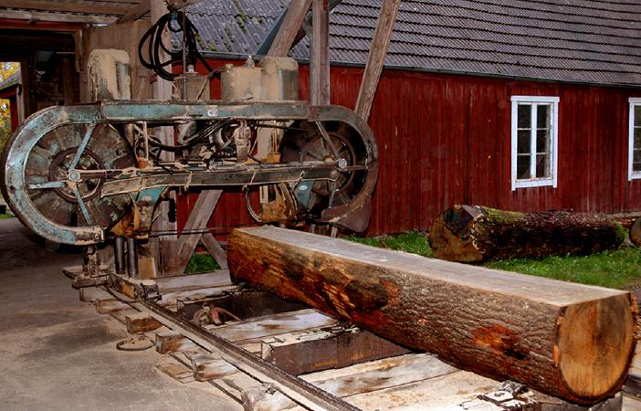 Järseke såg, Vinslöv, genomsågning av ek. 2006. Bild: Hans Fryk